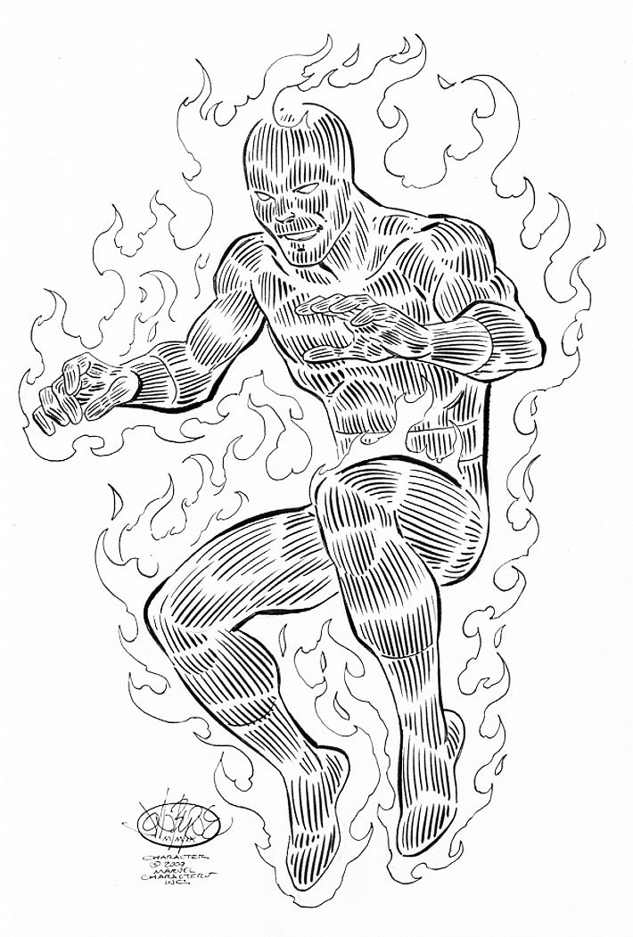 Human Torch commission by John Byrne. 2009.