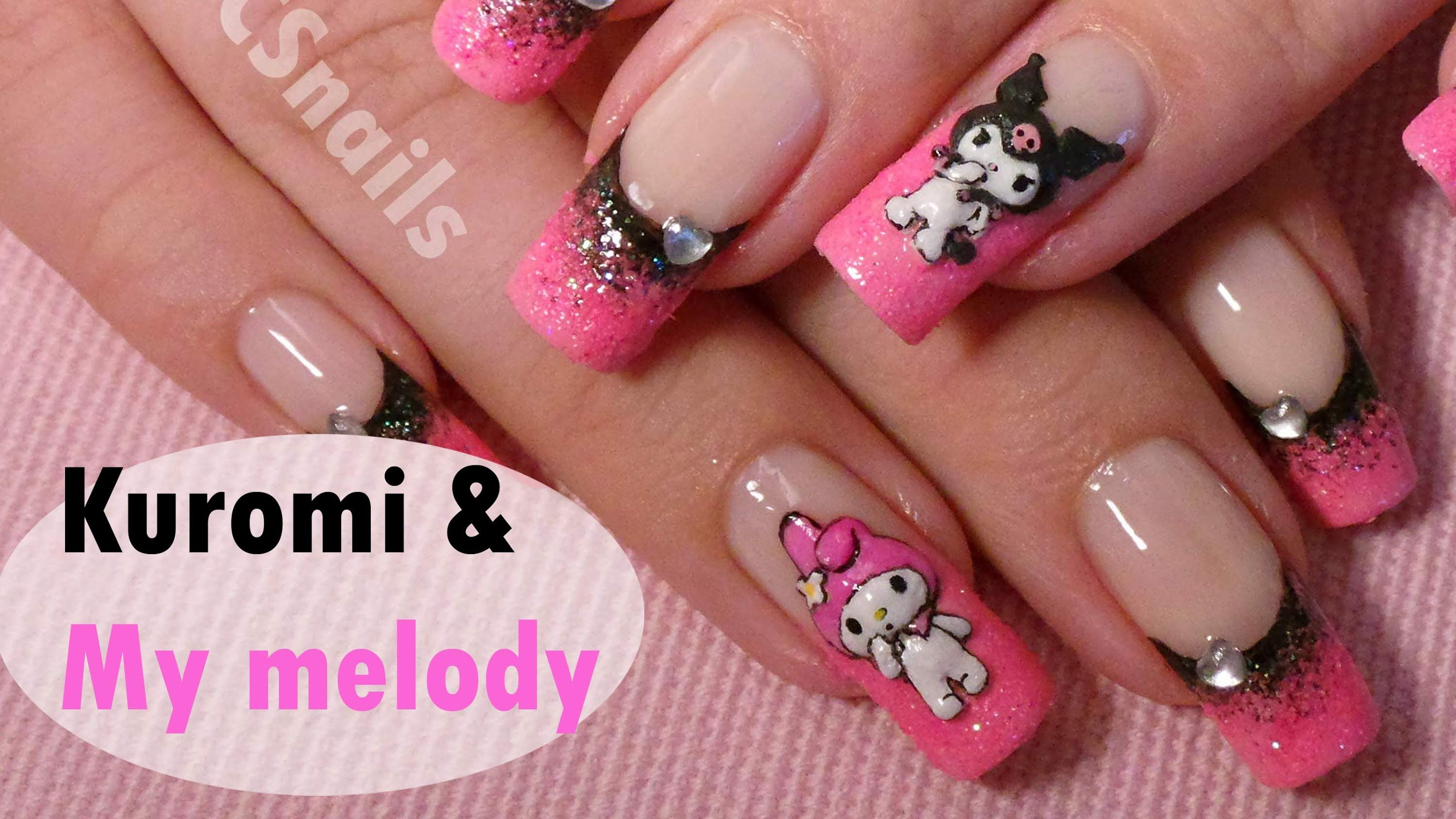 Sanrio Nail Art Tutorial Kuromi My Melody 3d Acrylic Nail Design Nail Designs Nail Art Tutorial Nails