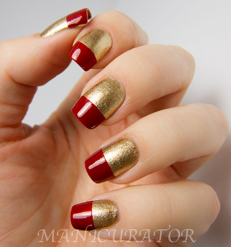 gold nails fade to red | red and gold nails | Nail Art Etc | My ...