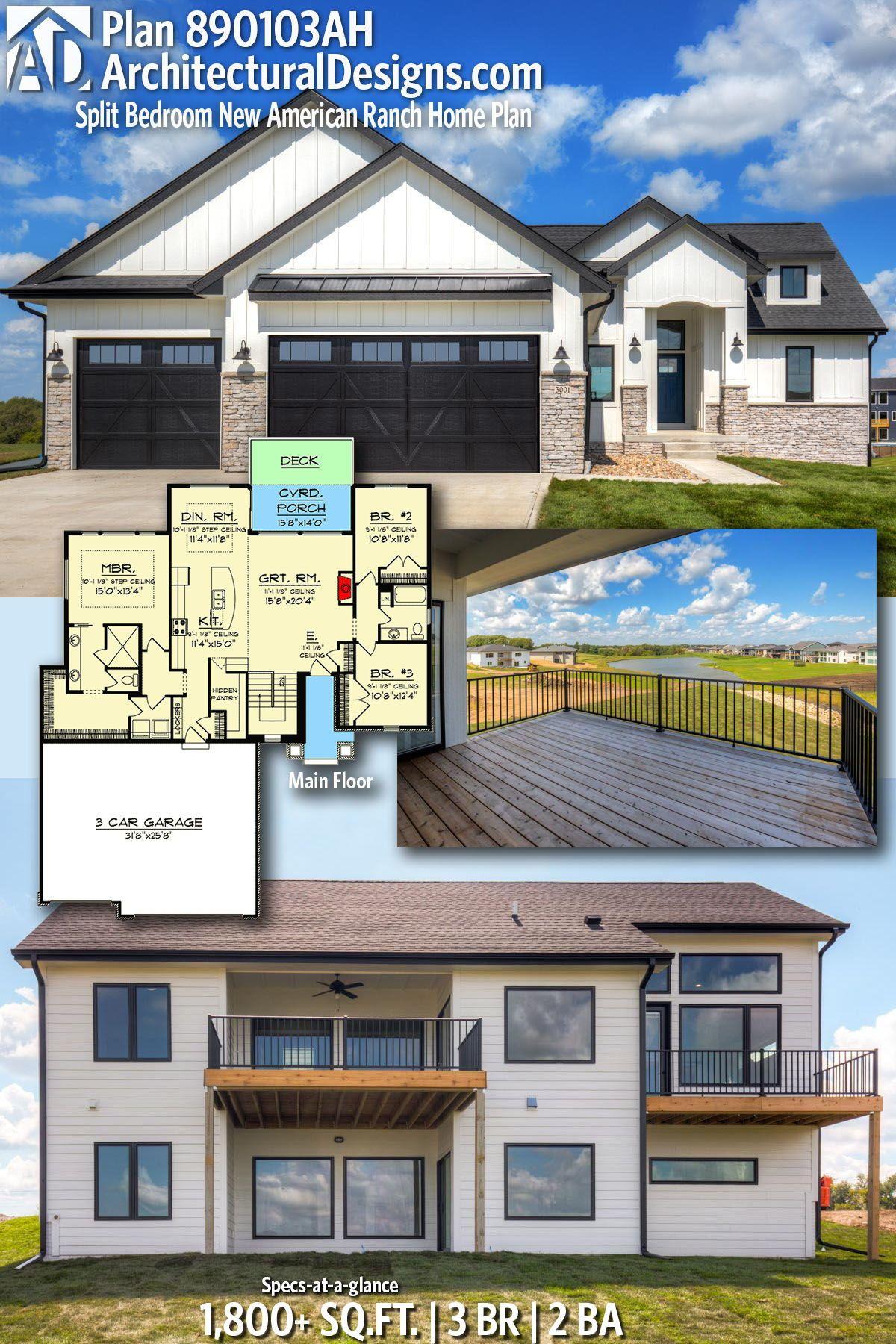 Plan 890103ah Split Bedroom American Ranch Home