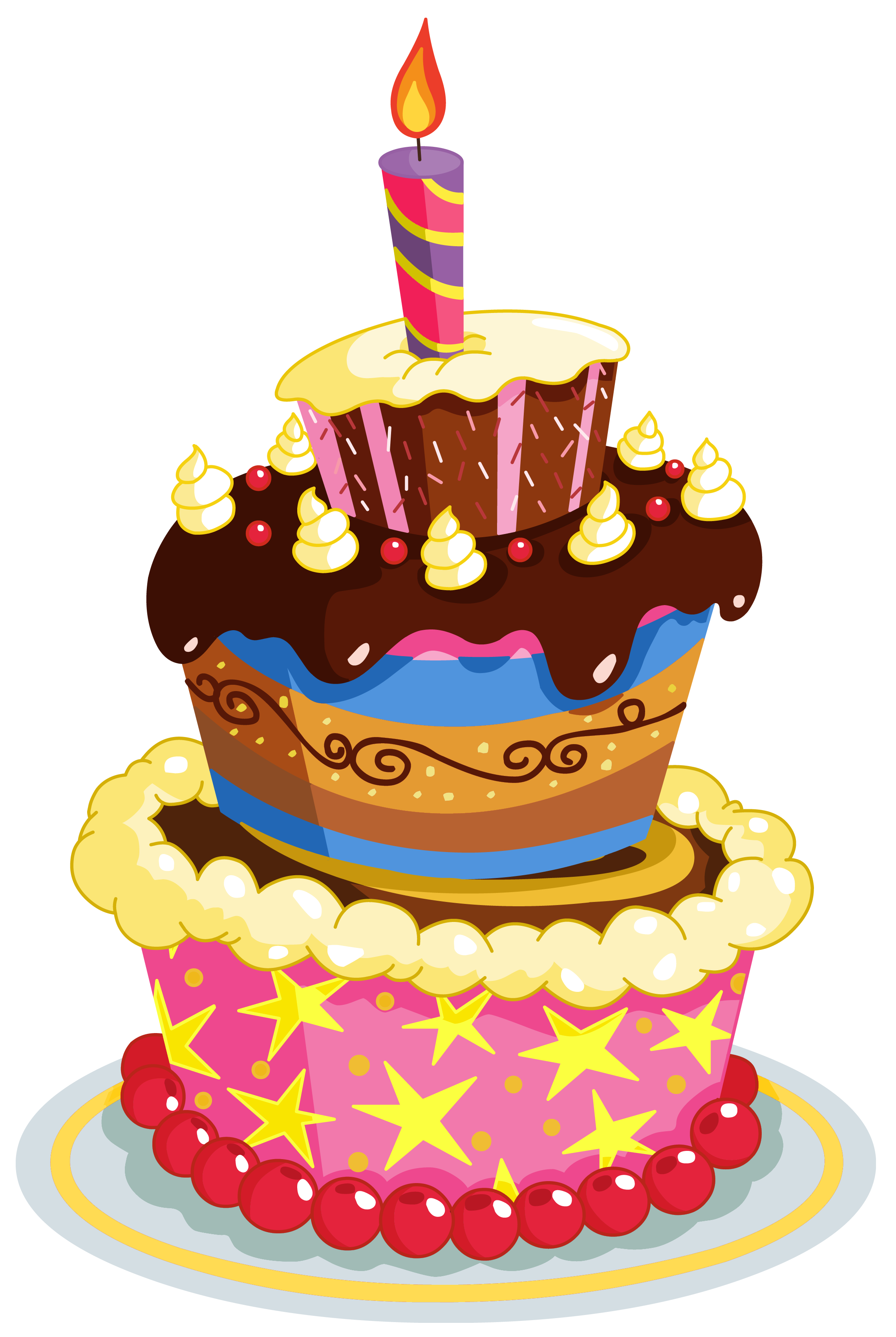 Birthday Cake Clip Art Colorful Clips Cheers Happy
