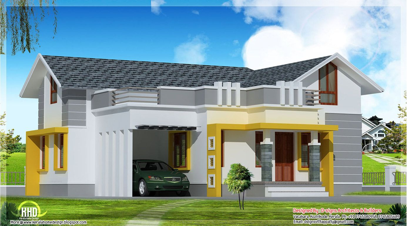 Stylish Single Floor Home In 1200 Sq Feet Kerala House Design Brick House Plans House Elevation