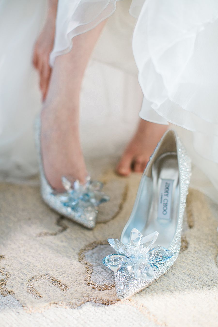 588ddbbd779e These Jimmy Choo bespoke Cinderella bridal shoes  Facebook and Instagram   The Wedding Scoop