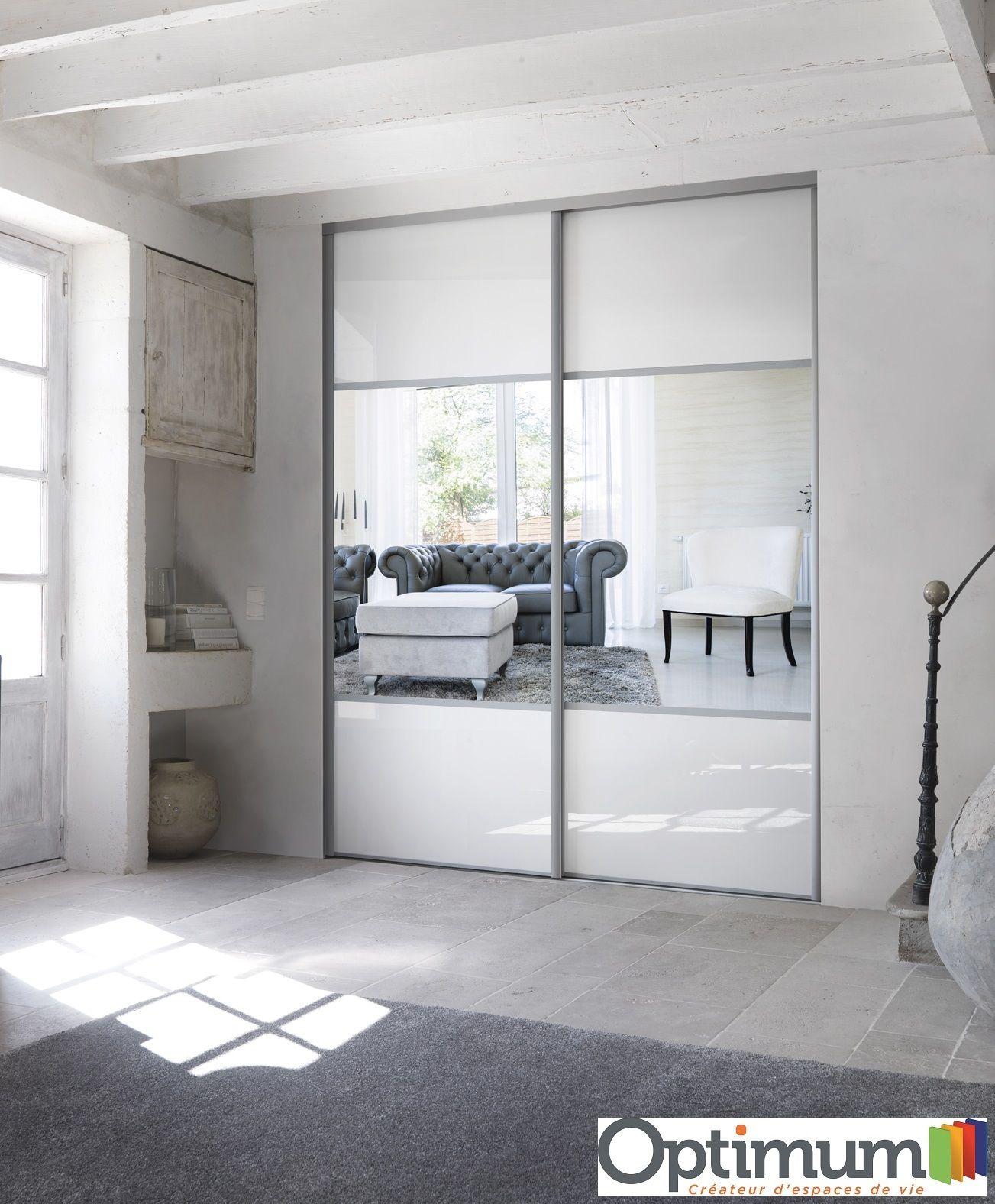 Portes De Placard Optimum Verre Laque Blanc Et Miroir Argent Porte Placard Placard Blanc Placard Chambre A Coucher