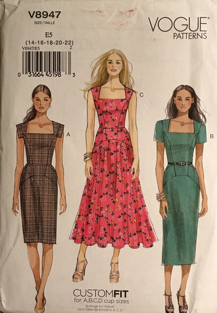 VOGUE 8947 Sewing Pattern Size 14-22 Dress Custom Fit for Cup Sizes ...