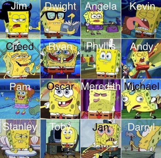 Die Office-Zeichen basieren auf SpongeBob JK | The Office Memes (Dunder Miffl …