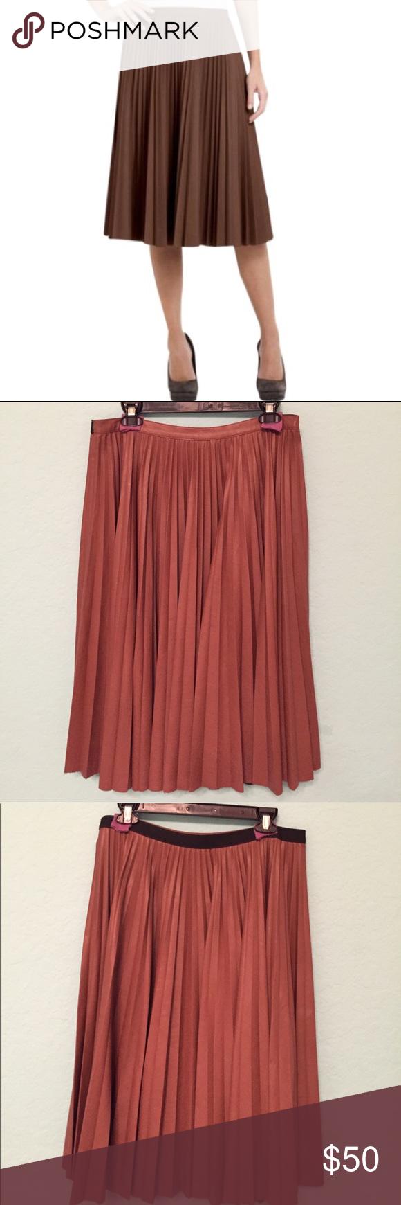 fdae4aad79 BCBG MAX AZRIA Elsa pleated vegan leather skirt Toffee color vegan ...