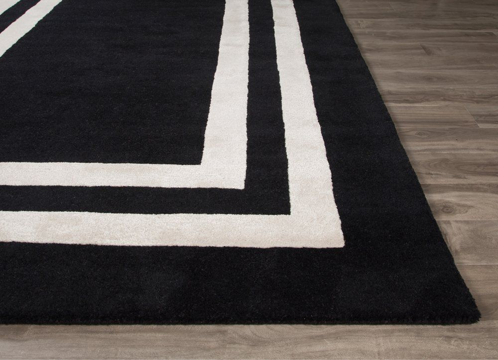 Gramercy Double Border Hand Tufted Black White Area Rug With
