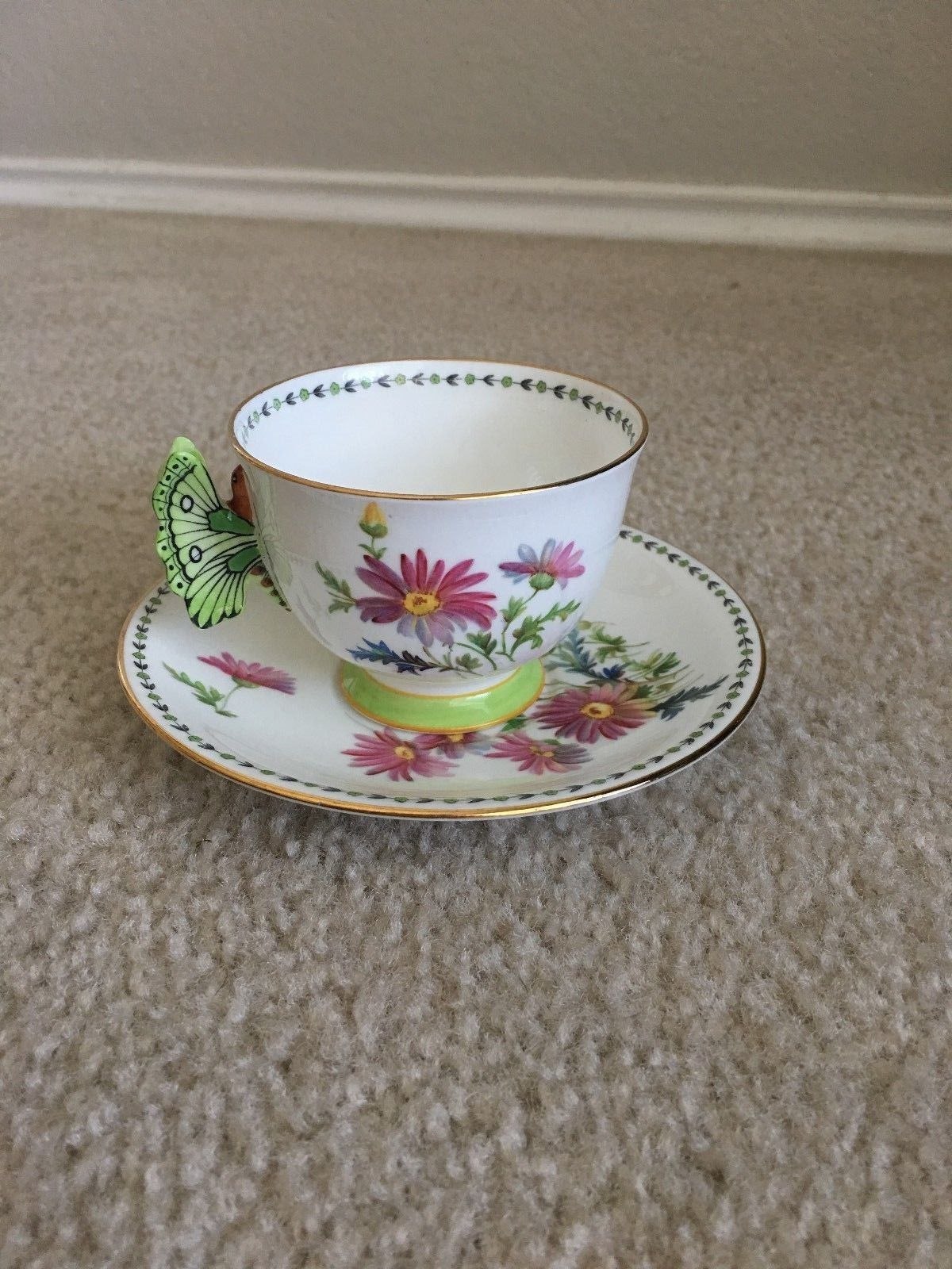 211c825cc01 RARE Aynsley Pink Flowers B1819 Butterfly Handle Tea Cup And Saucer | eBay