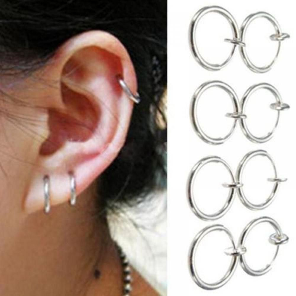 Left nose piercing vs right  PCS Clip on Boby Nose Lip Ear Fake Piercing Rings Stud Punk Goth