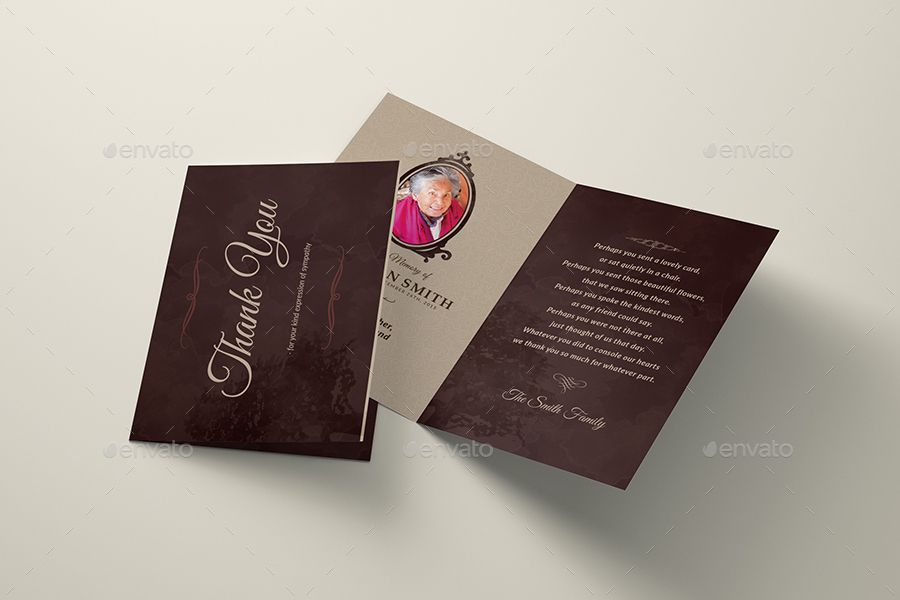 Elegance Funeral Program Bi Fold Thank You Card Template Great For Any Memorial Or Funeral Events Al Funeral Programs Thank You Card Template Print Templates