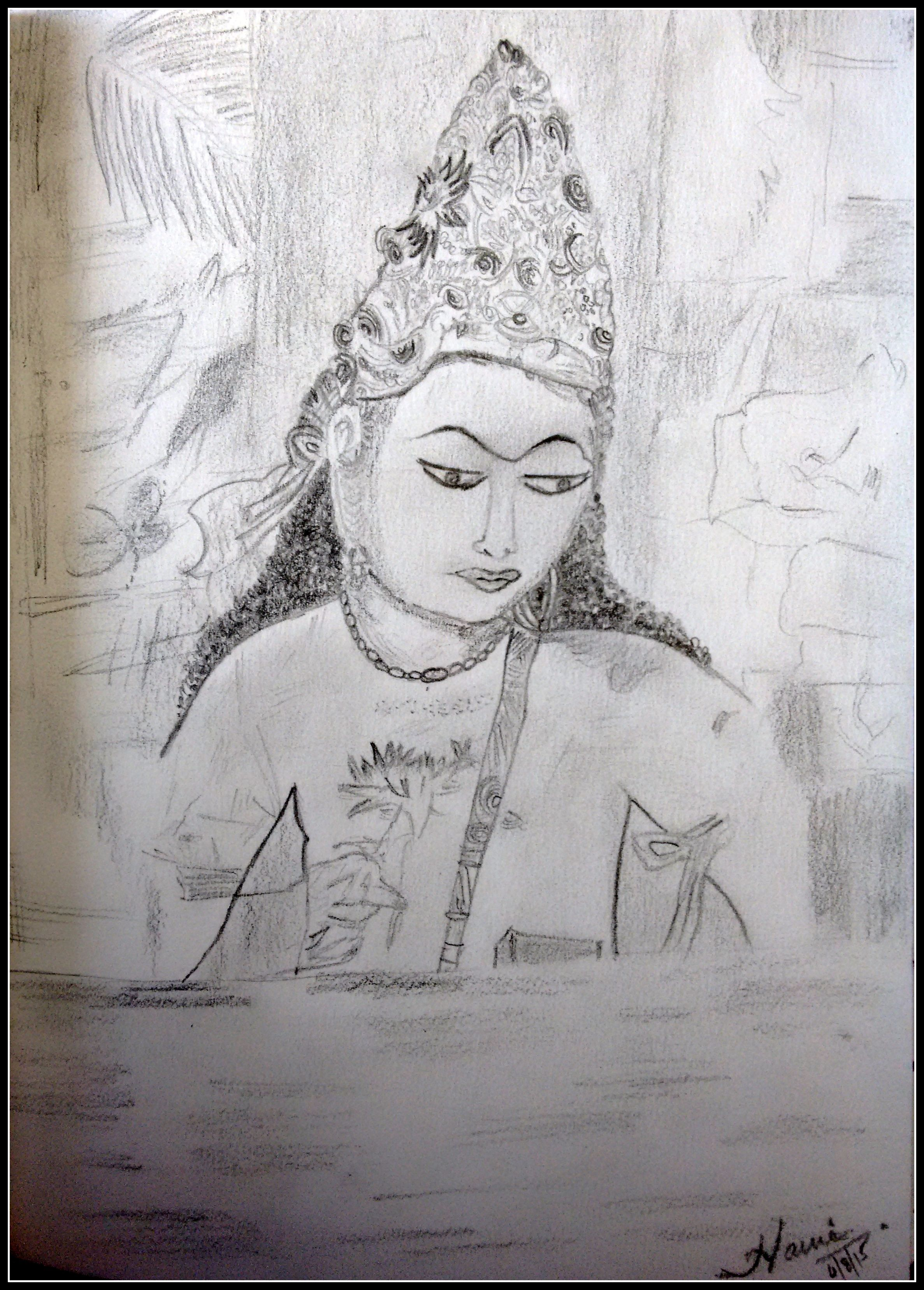 Ajanta image on paper with some pencil shading some hand shading and use of eraser