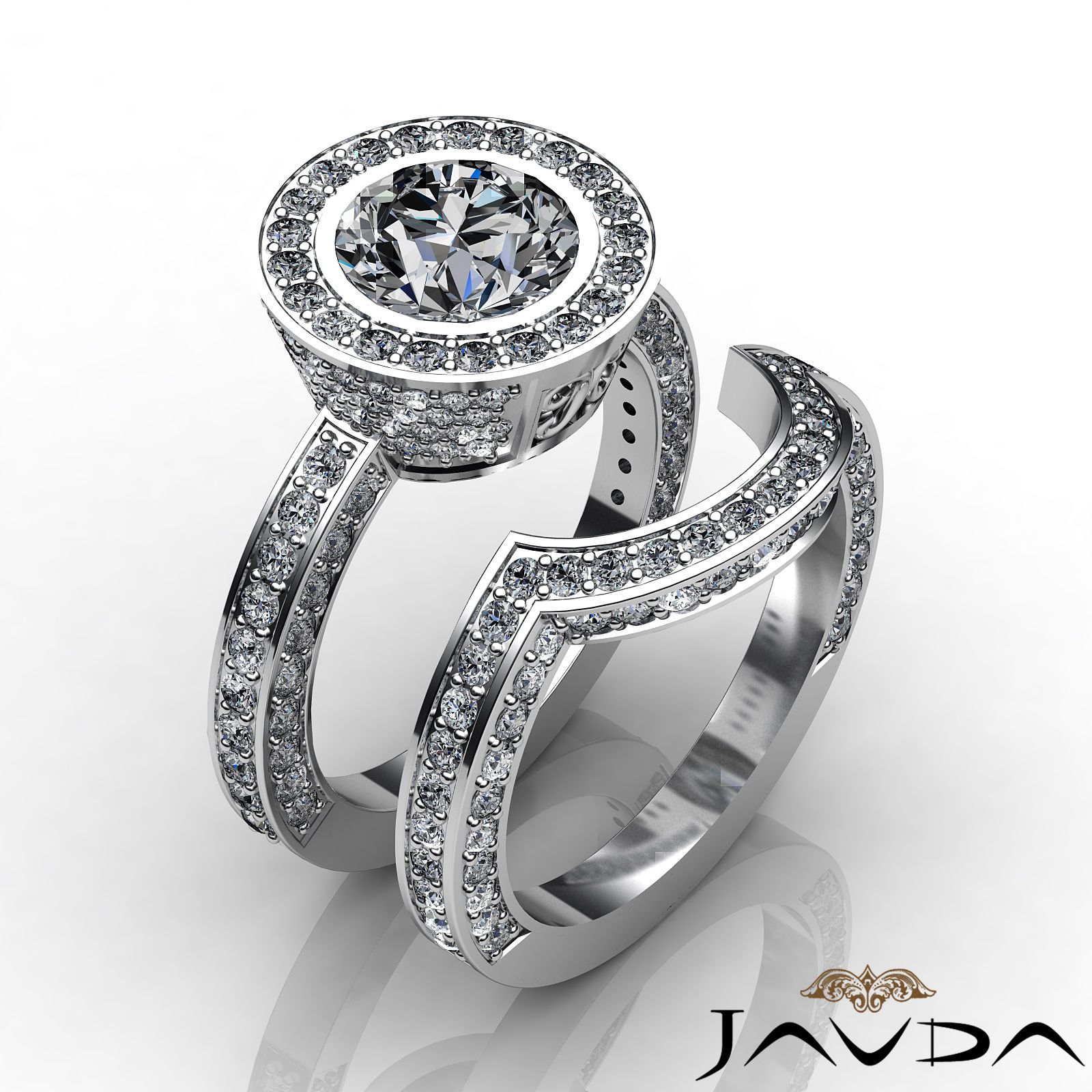 Round bridal set diamond antique pave engagement ring gia g vs