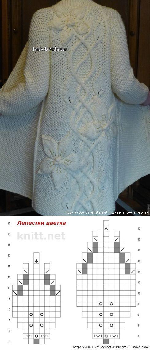 """Пальто """"Белые Клематисы"""" от Людмилы Макаровой   Умелые ручки"""