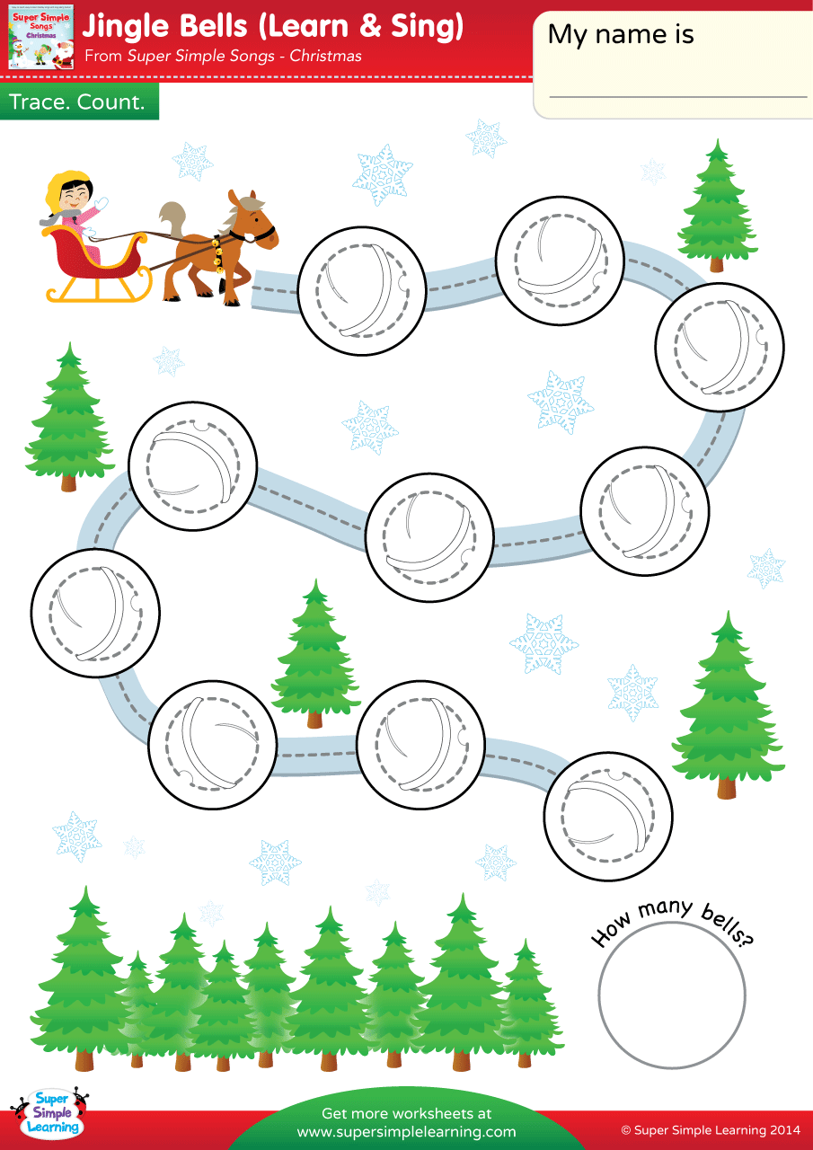 Jingle Bells Worksheet Trace Count Super Simple Jingle Bells Kindergarten Worksheets English Activities For Kids [ 1280 x 905 Pixel ]