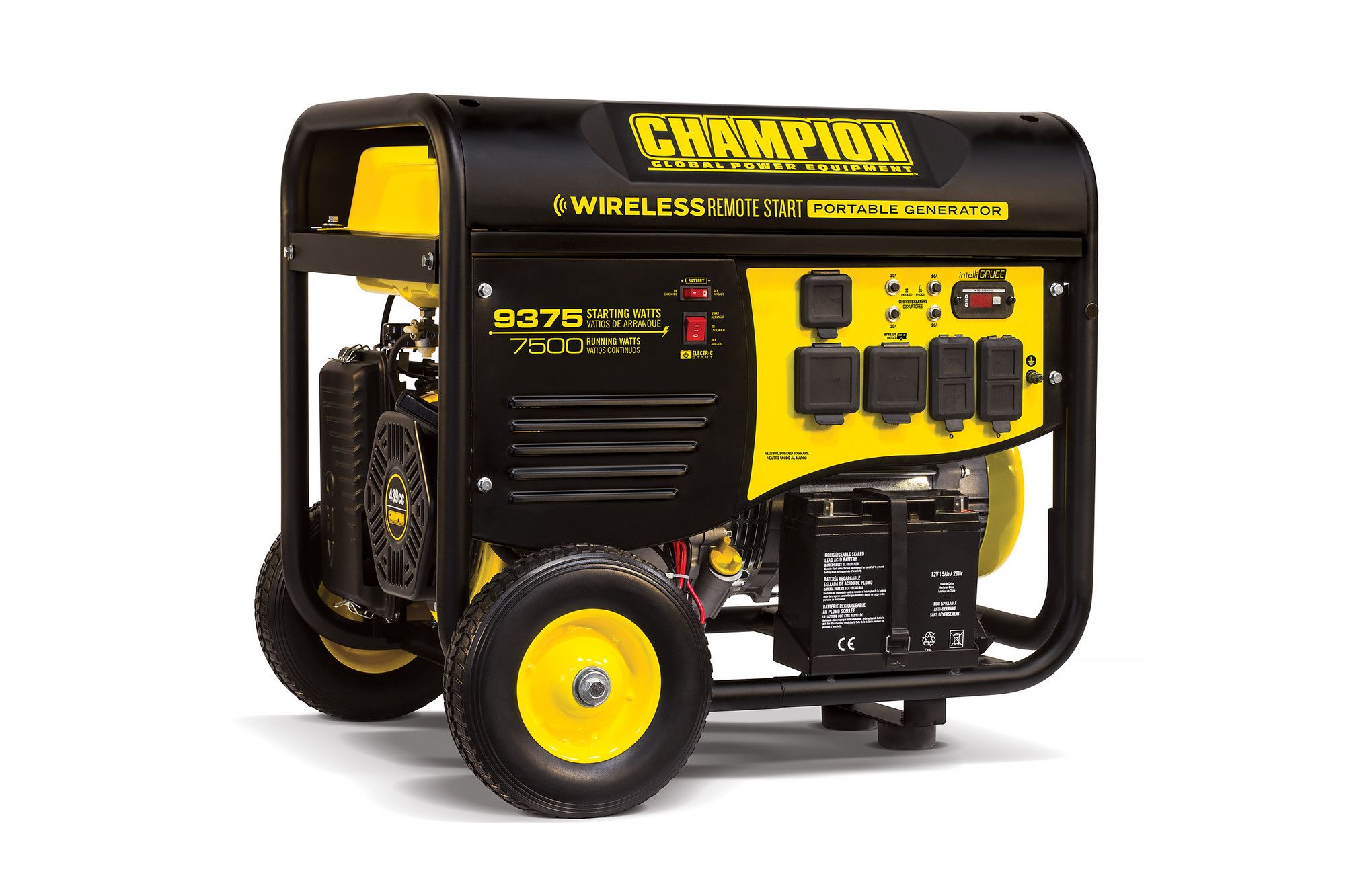 9375 Watt Portable Gasoline Generator with Wireless Remote