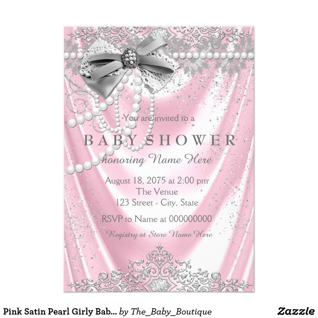 Pink Satin Pearl Girly Baby Shower Card | Baby Shower | Pinterest