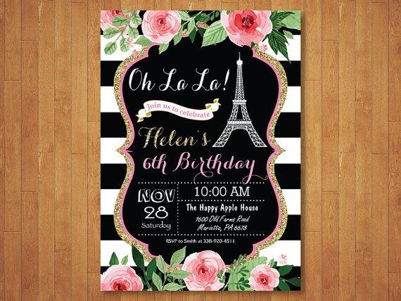 Invitación De Cumpleaños De Paris Invitación De La Torre