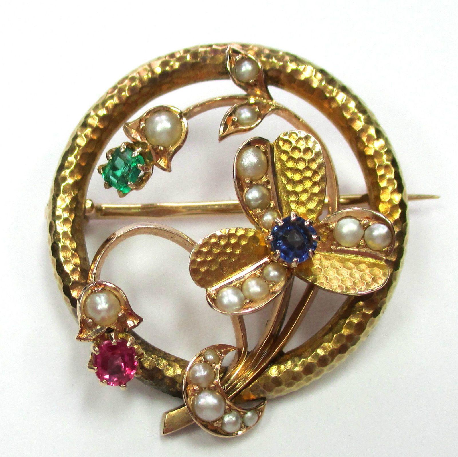 718 Zauberhafte Antike Brosche Gold 585 Smaragd Rubin Saphir Perlen Video 1365 Brosche Smaragd Perlen