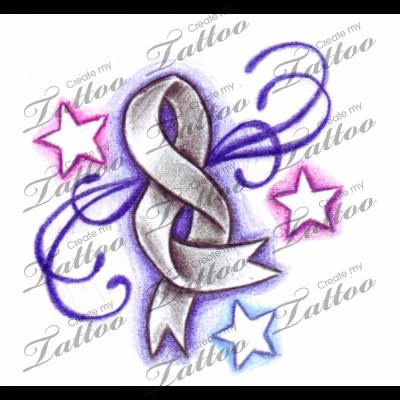 Cancer Ribbon Tattoos Brain Cancer Tattoo Ribbon Createmytattoocom
