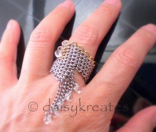 Cyberpunk Chainmaille Finger Ring in Stainless Steel, Jewelry Brass