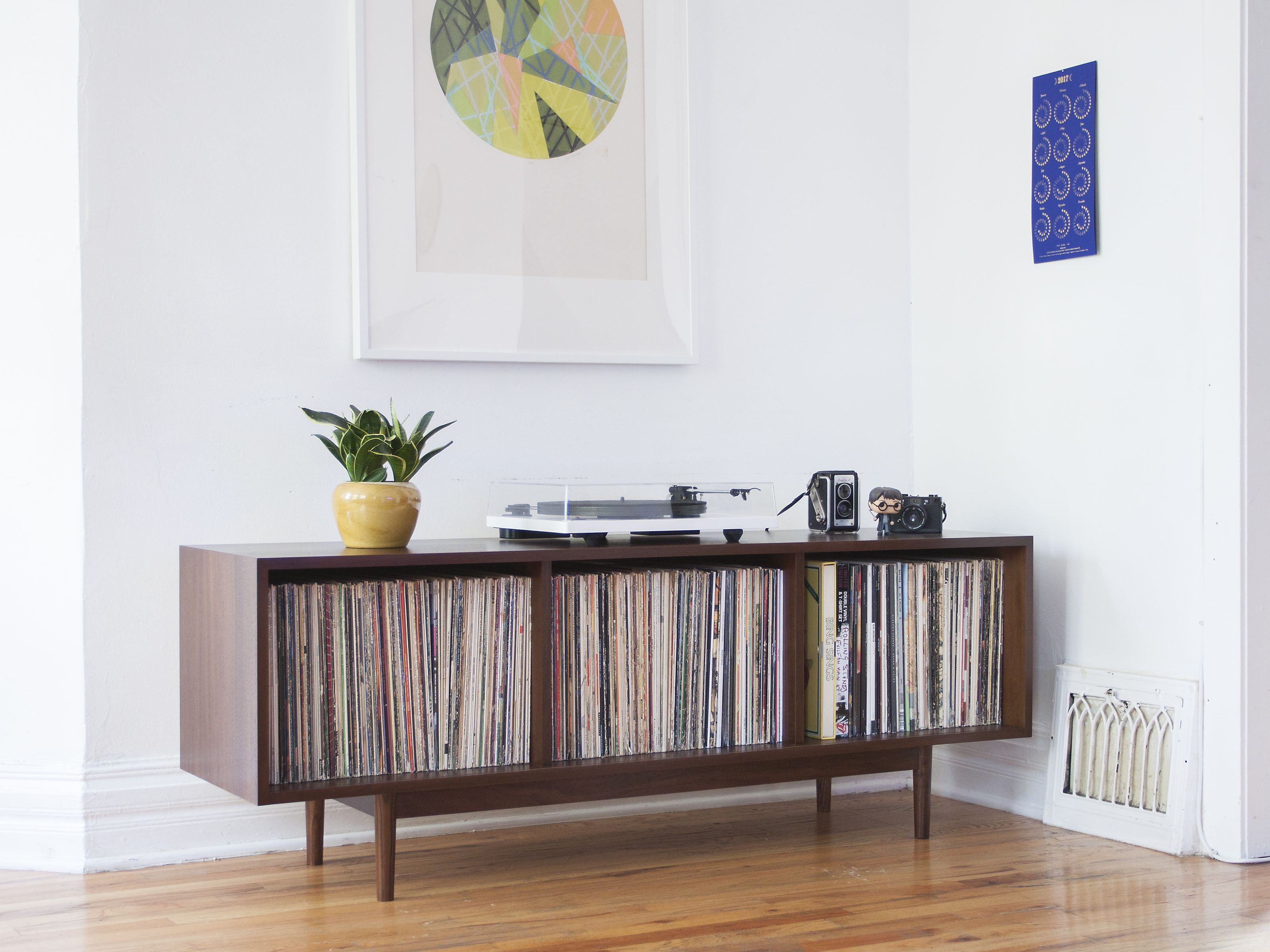 Mid Century Modern Inspired Record Storage Cabinet Vinyl And  # Meuble Tv Quintana