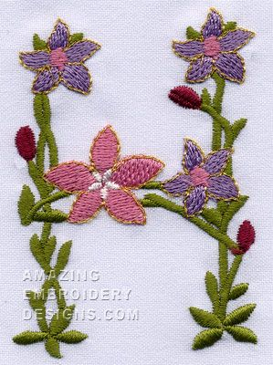 Garden Embroidery Designs through the garden embroidery design collection Amazingembroiderydesigns H Flower Garden Font 821582 20604pes Kh Amazing Letter Designsembroidery Patternsmachine Embroiderysewing