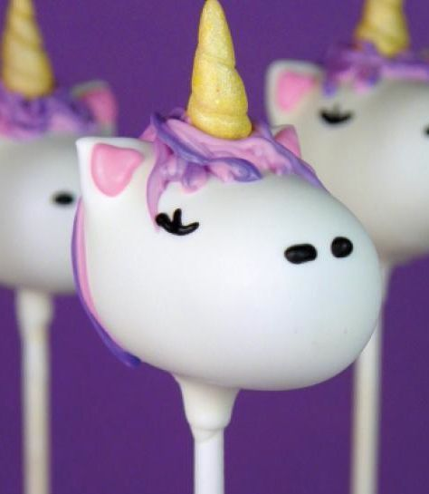Unicorn cake pops. This site also has a really cute unicorn cupcake topper.