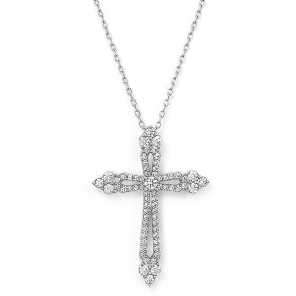 Diamond cross pendant necklace in 14k white gold 75 ct tw tw 1595 liked on polyvore featuring jewelry necklaces white 14k white gold necklace diamond cross necklace white gold jewelry cross pendant aloadofball Images