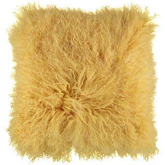 Yellow Mongolian Sheepskin Cushion
