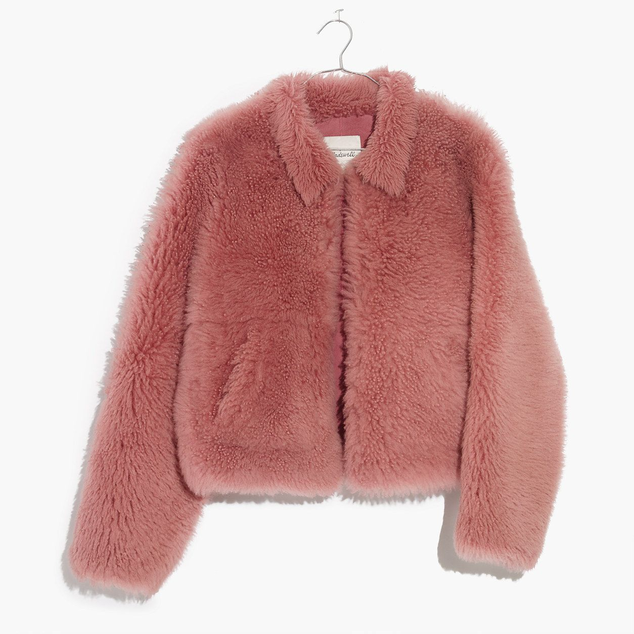 Sheinside Pink Pearl Beading Textured Faux Fur Coat Winter Collarless Cute
