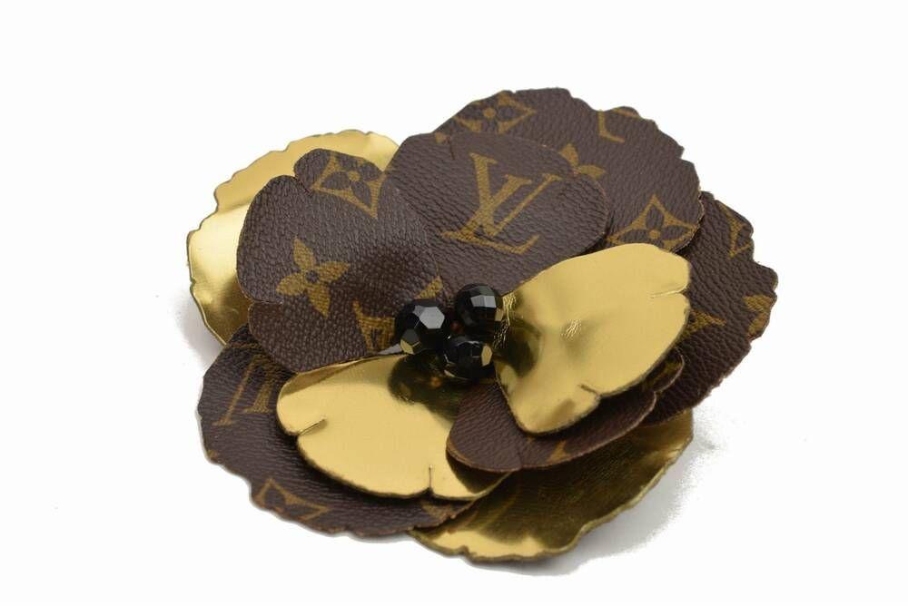 Authentic louis vuitton brooch pin flower corsage monogram