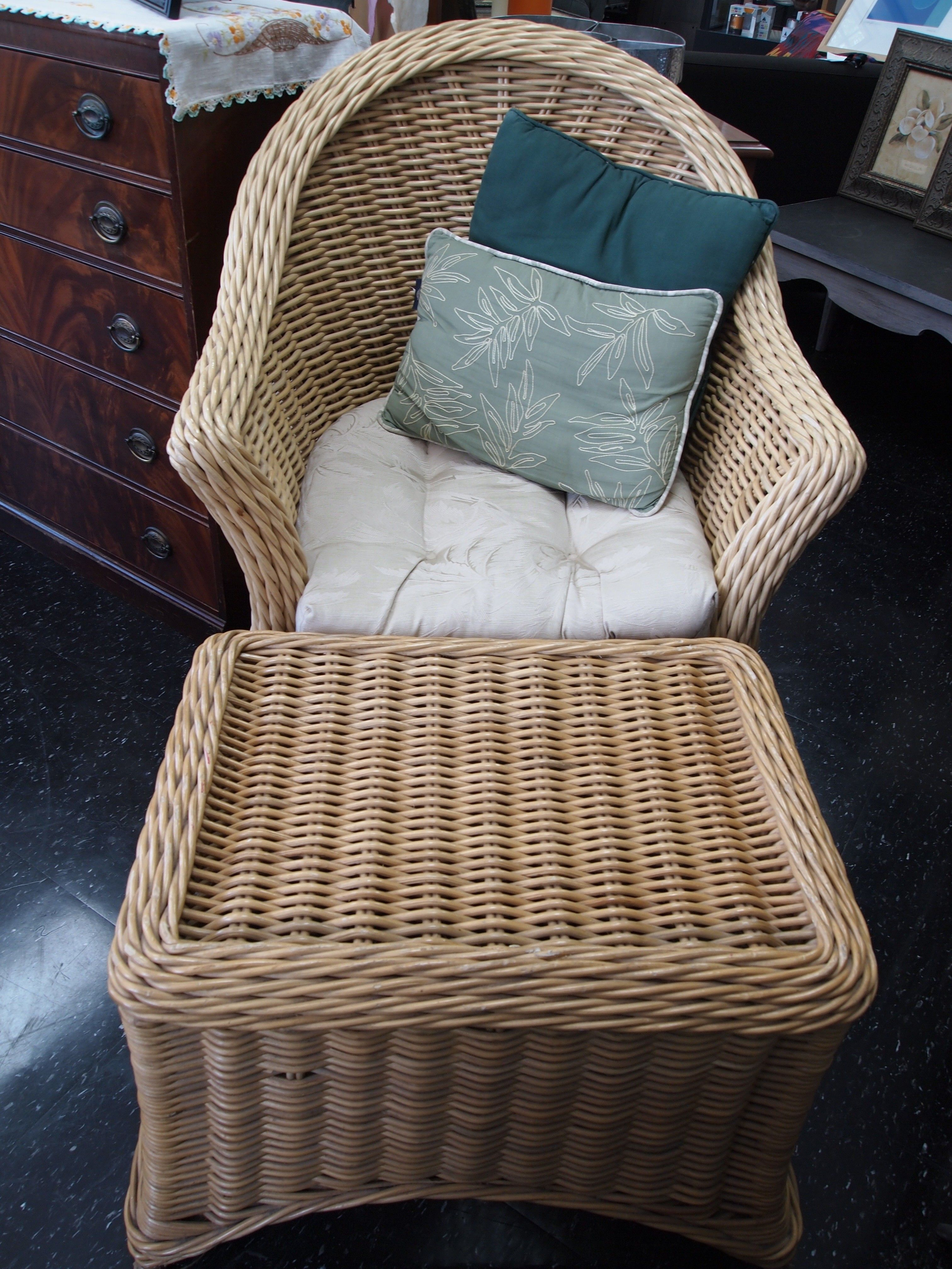 Bamboo Rattan Chair And Ottoman $190   Chicago Http://furnishly.com/