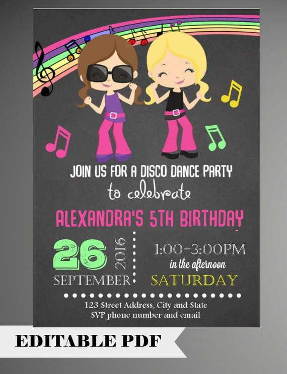 Editable Text Dance Party Invitations Birthday Invitation