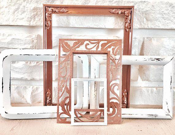 Rose gold metallic & white matte picture frame collage set of 5 ...