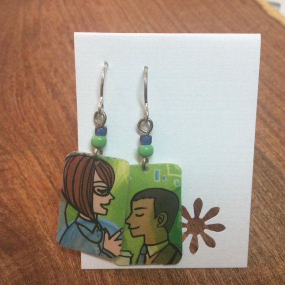 Recycled Starbucks gift card earrings. by lorikovash on Etsy