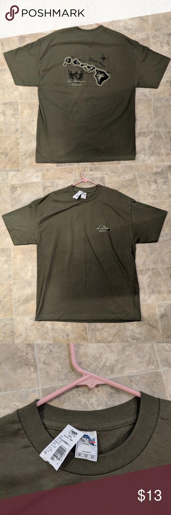 New Alstyle Hawaii Men S Xl Green Short Sleeve Long Sleeve Tshirt Men Alstyle Apparel Green Shorts