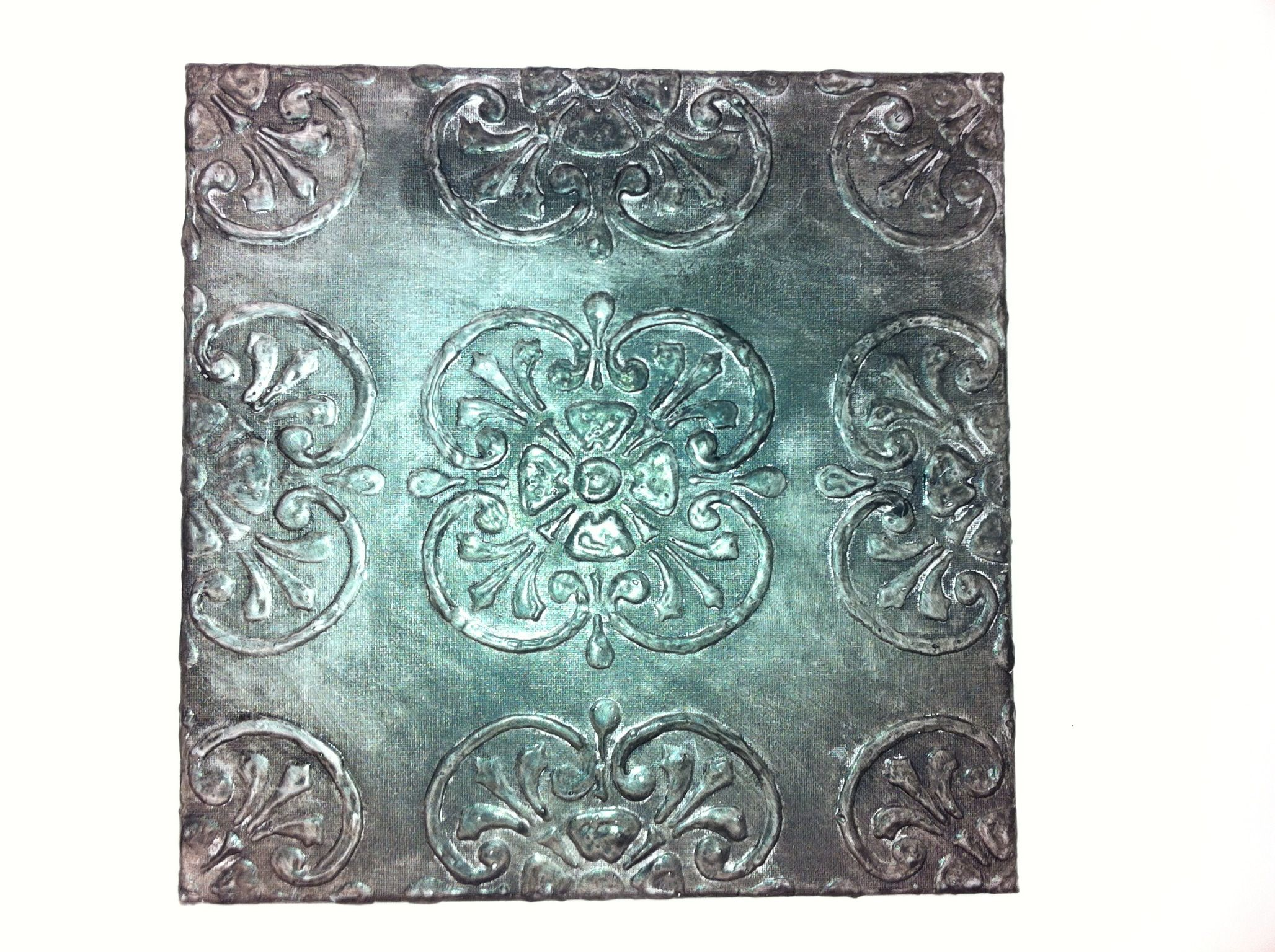 faux tin canvas by audrey mcgill 1 stencil pattern on canvas 2 go