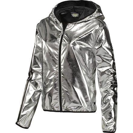 88d1c310b ADIDAS Women's Windbreaker, Metallic Silver / Black, | Clothes ...