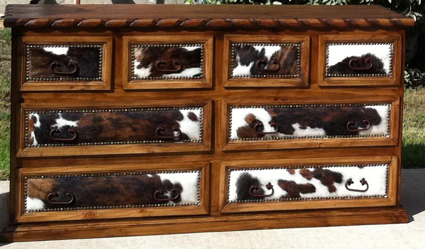 RUSTIC COWHIDE BEDROOM FURNITURE, SETS- FREE SHIPPING