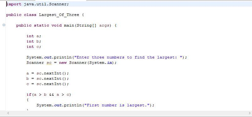 Today you will learn java program to find largest between three ...