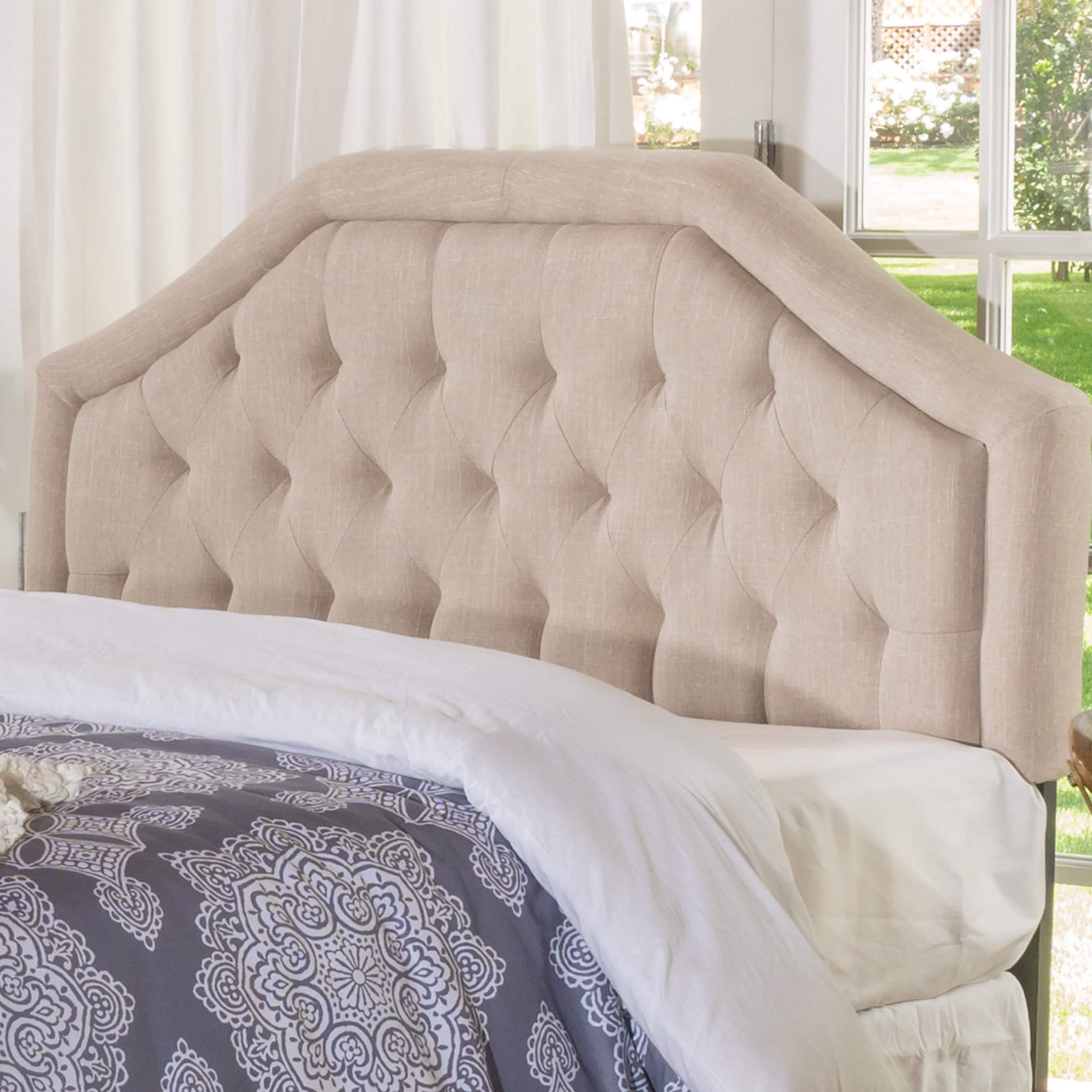 Angelica adjustable full queen tufted fabric headboard by christopher knight home full queen beige fabric