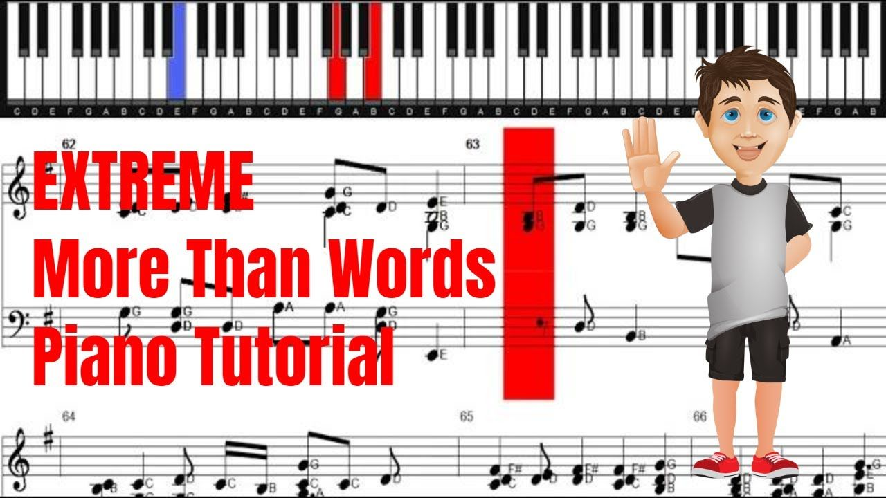 Extreme More Than Words Piano Tutorial Piano Sheet Piano Tutorial Piano Sheet More Than Words