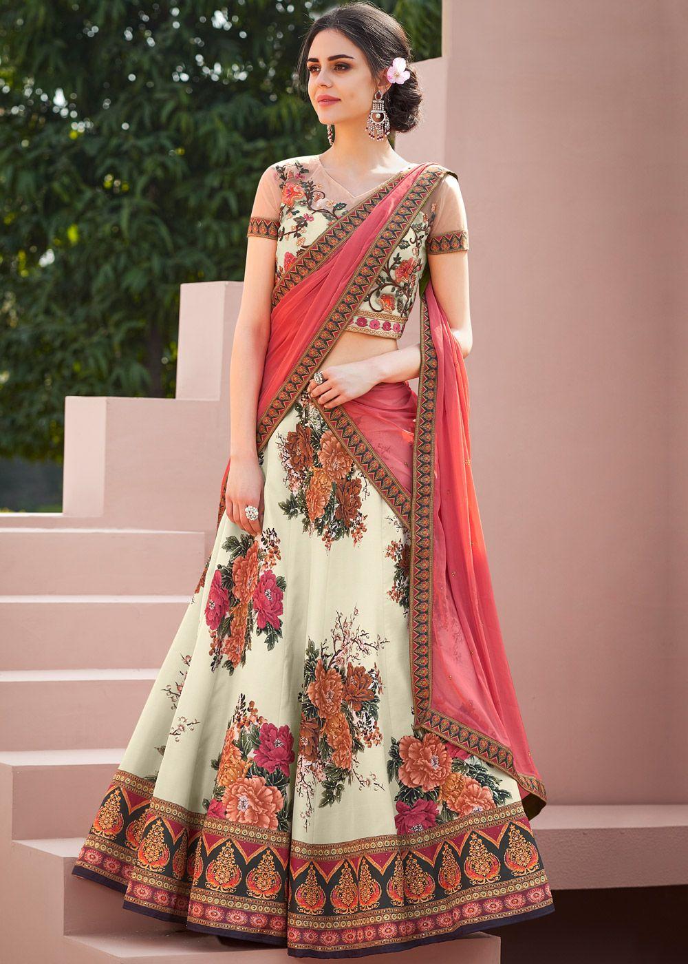 21ac8b87f3 Cream Floral Printed Satin Silk Lehenga Choli | Classic Floral ...
