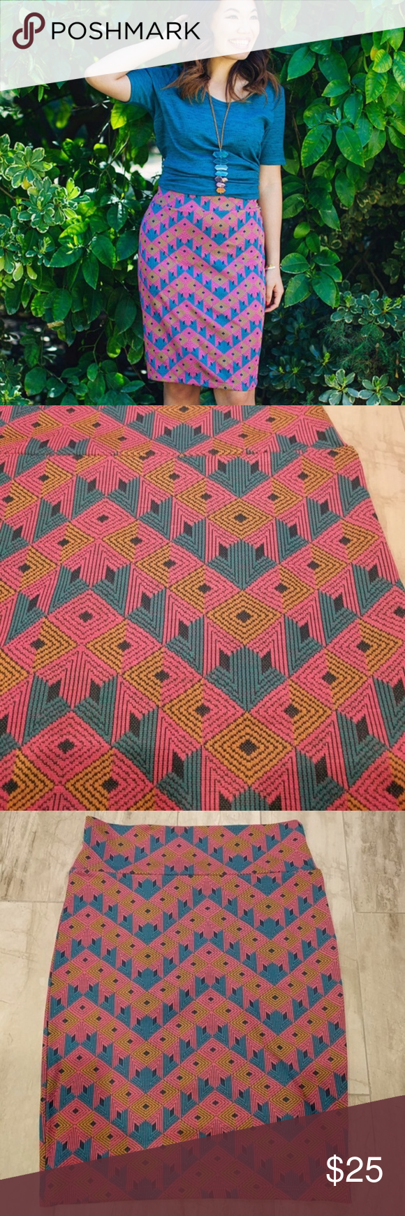120dbb760 LuLaRoe Cassie Skirt Pink Jacquard Material NWT Lg Size: Large Brand New  With Tags LuLaRoe Cassie Skirt in a fun Pink, Blue, and gold diamond print!