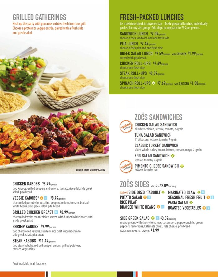 Zoes Kitchen Menu Nutrition Covid Outbreak