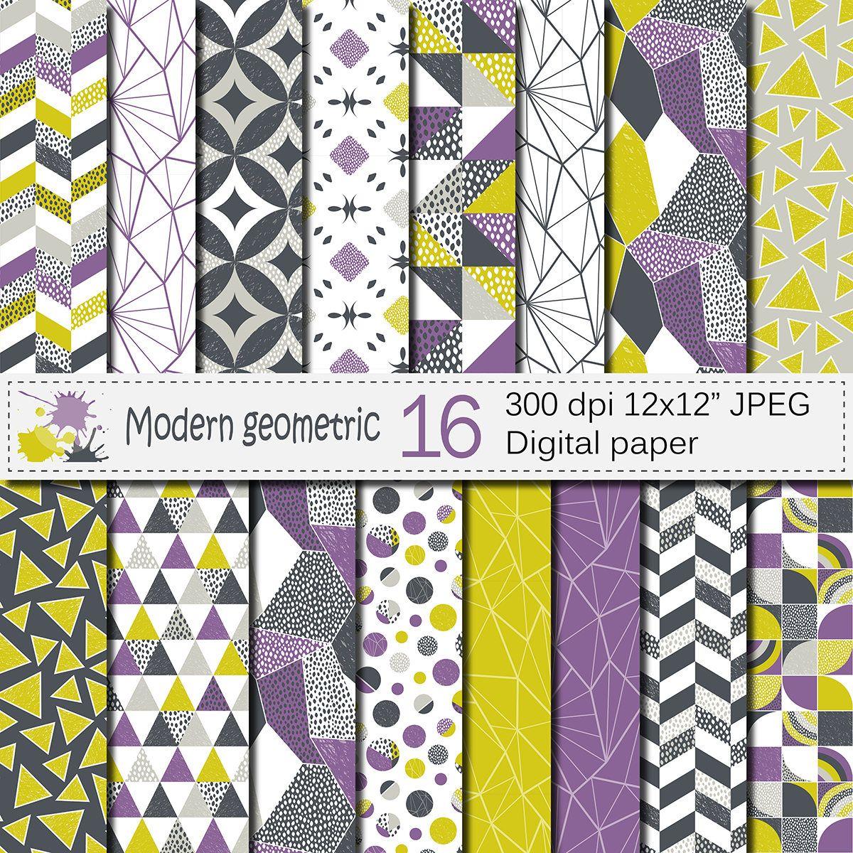 Seamless Modern Geometric Digital Paper, Geometric