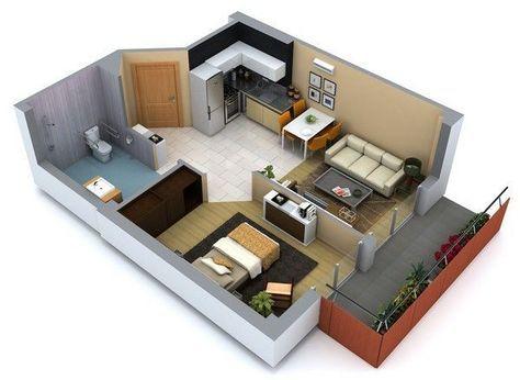 plano casa pequeña minimalista - Buscar con Google mi departamento