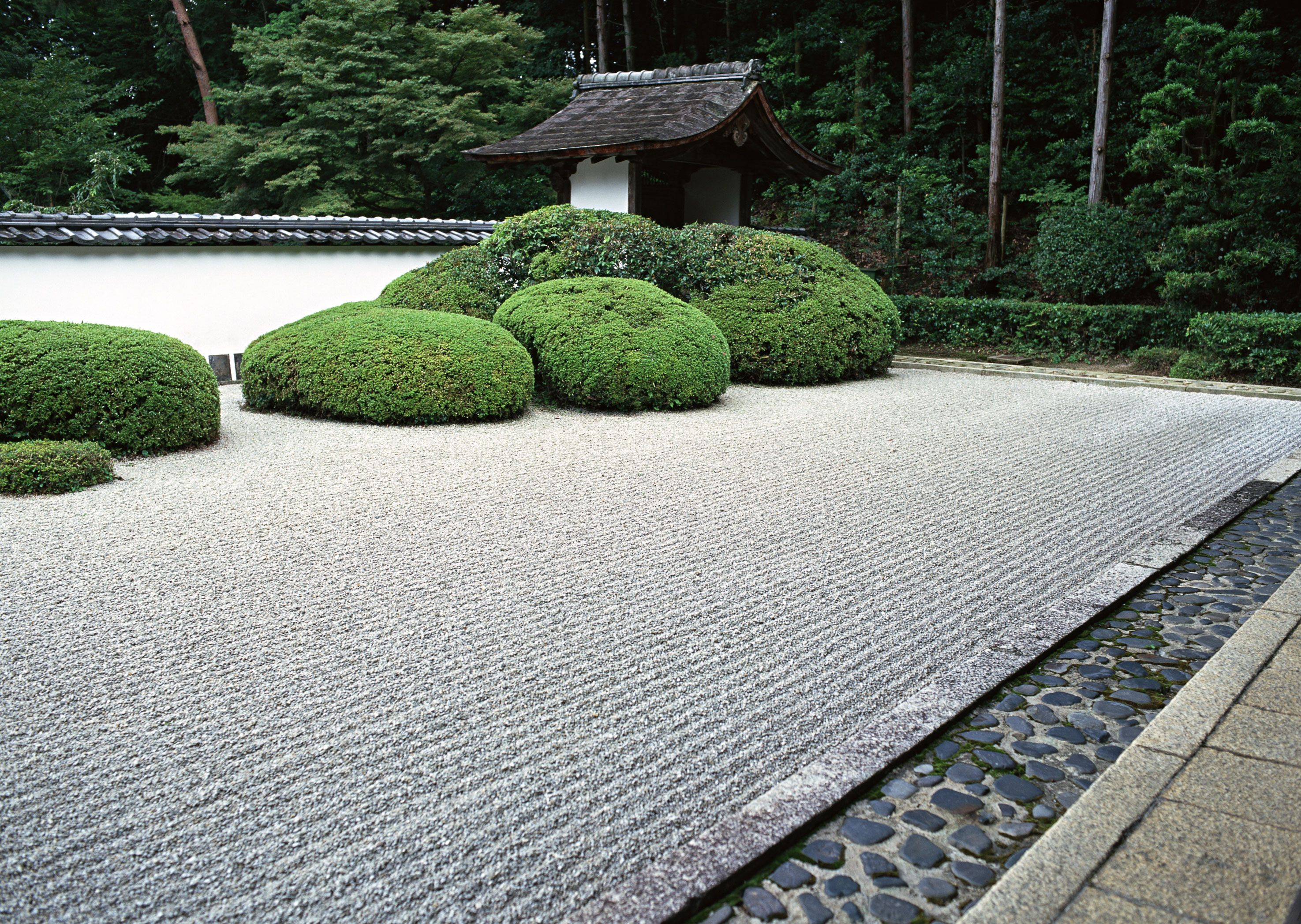 This Japanese zen garden features beautifully combed gravel and an open and  playful format.