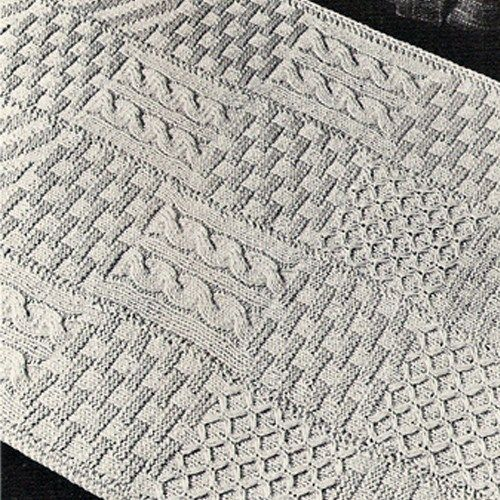 Knitted Rug Pdf Pattern 31 X 43 Inches Vintage 1960s